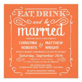 Mango-naranja coma la bebida sea boda casado invit comunicados personales