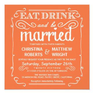 """Mango-naranja coma la bebida sea boda casado invitación 5.25"""" x 5.25"""""""