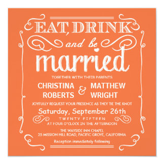 Mango Orange Eat Drink be Married Wedding Invites