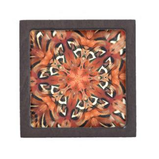 Mango Pheasant Feather Kaleidoscope  Mandala Premium Jewelry Boxes
