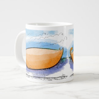 Mango shaped cat on a ledge giant coffee mug