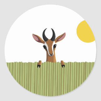 Mango the Gazelle Peek-a-boo Classic Round Sticker