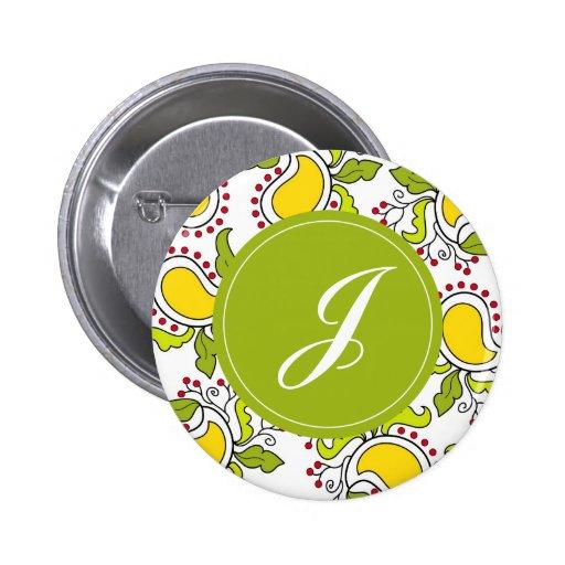 """Mango y hojas Paisley con el monograma de """"J"""" Pins"""