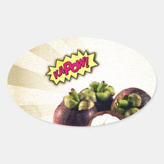 Mangosteen KAPOW pop art Oval Sticker