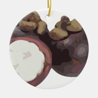 Mangosteen Sweet and Tangy Fruit from Thailand Ceramic Ornament