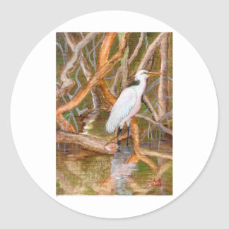 Mangrove Egret No. 2 Classic Round Sticker