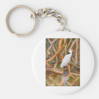 Mangrove Egret No. 2 Basic Round Button Keychain