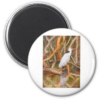 Mangrove Egret No. 2 2 Inch Round Magnet