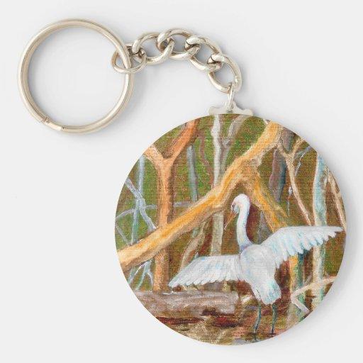 Mangrove Egret No. 3 Key Chains