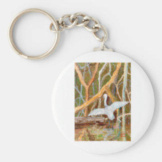 Mangrove Egret No. 3 Basic Round Button Keychain