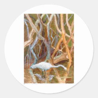 """Mangrove Egret No. 4"" Classic Round Sticker"