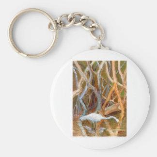 """""""Mangrove Egret No. 4"""" Basic Round Button Keychain"""