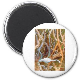 """""""Mangrove Egret No. 4"""" 2 Inch Round Magnet"""