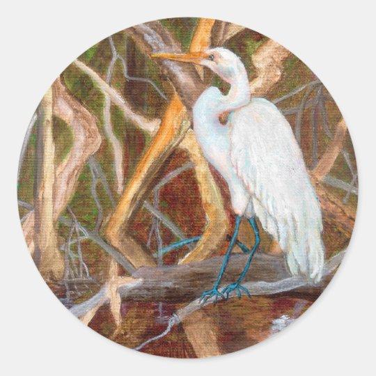 MangroveNo1Egret Classic Round Sticker