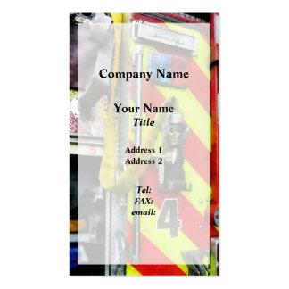 Manguera de bomberos en el coche de bomberos rayad plantilla de tarjeta de visita