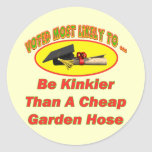 Manguera de jardín rizada etiqueta redonda