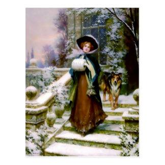 Manguito de la mano del Victorian del perro del co Tarjeta Postal