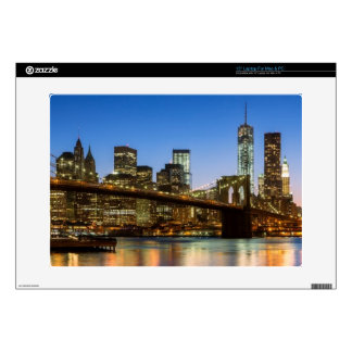 Manhattan and Brooklyn Bridge at dusk Decals For Laptops
