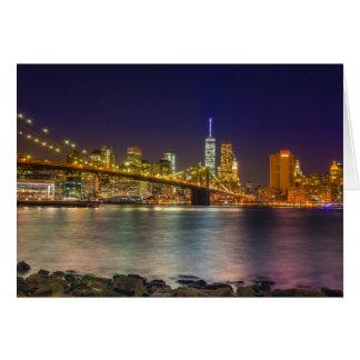 Manhattan and Brooklyn Bridge at night Card