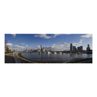 Manhattan and Jersey City Skyline Harbor View Poster