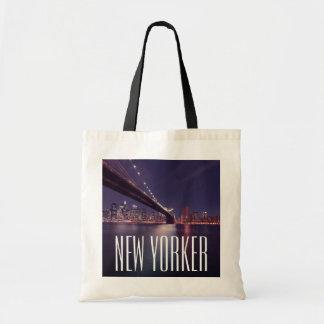 Manhattan at Night, Brooklyn Bridge, East River Tote Bag