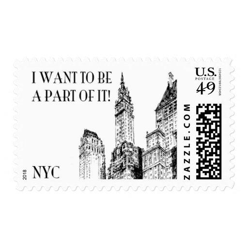 Manhattan B by Ceci New York Postage Stamps
