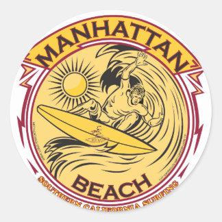 MANHATTAN BEACH CALIFORNIA PEGATINA REDONDA
