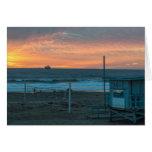 Manhattan Beach en la puesta del sol de la playa Tarjeta Pequeña