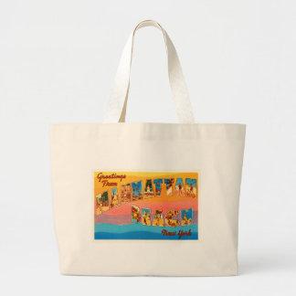 Manhattan Beach New York NY Old Travel Souvenir Large Tote Bag