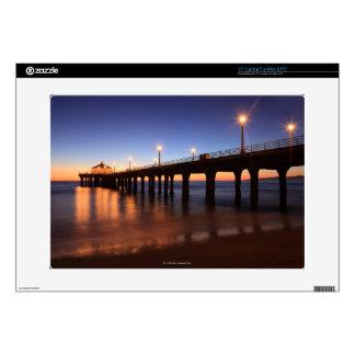 """Manhattan Beach Pier at sunset, California 15"""" Laptop Decal"""