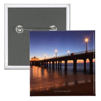 Manhattan Beach Pier at sunset, California Button