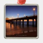 Manhattan Beach Pier at sunset, California Square Metal Christmas Ornament