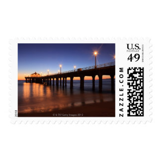 Manhattan Beach Pier at sunset, California Postage Stamp