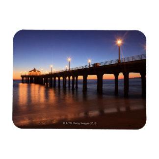 Manhattan Beach Pier at sunset, California Rectangular Photo Magnet