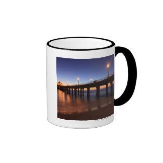 Manhattan Beach Pier at sunset, California Ringer Coffee Mug