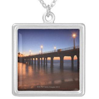 Manhattan Beach Pier at sunset, California Silver Plated Necklace