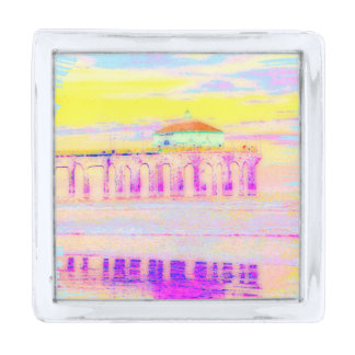 Manhattan Beach Pier California in Pastels Silver Finish Lapel Pin