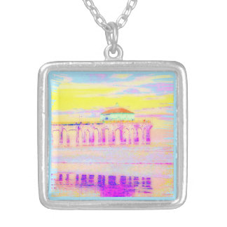 Manhattan Beach Pier California in Pastels Silver Plated Necklace