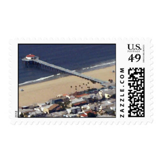 Manhattan Beach Pier Painted Postage Stamps
