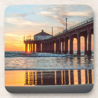 Manhattan Beach Pier Sunset Coaster