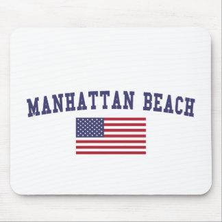 Manhattan Beach US Flag Mouse Pad