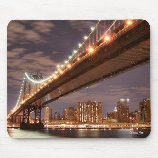 Manhattan Bridge and Manhattan Skyline At Night Mouse Pads
