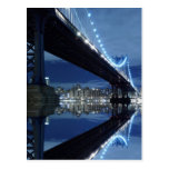 Manhattan Bridge and Manhattan skyline At Night Post Card