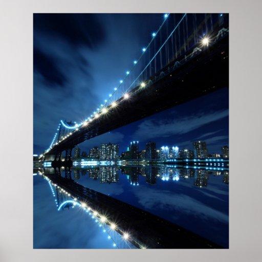 Manhattan Bridge and Manhattan skyline At Night Posters