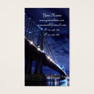 Manhattan Bridge and Skyline At Night, New York Business Card