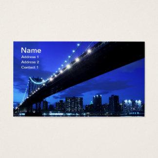 Manhattan Bridge and Skyline At Night, NYC Business Card