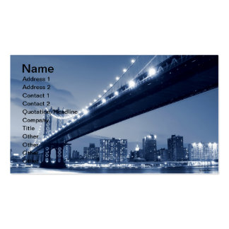 Manhattan Bridge and Skyline At Night, NYC Double-Sided Standard Business Cards (Pack Of 100)