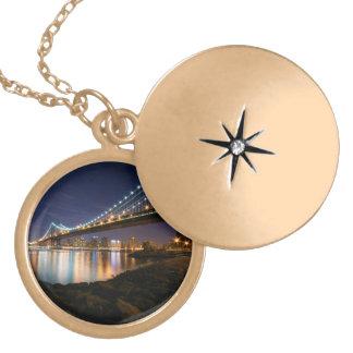 Manhattan Bridge at Night Gold Plated Necklace