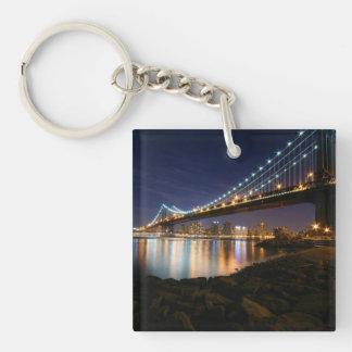 Manhattan Bridge at Night Double-Sided Square Acrylic Keychain