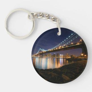 Manhattan Bridge at Night Double-Sided Round Acrylic Keychain